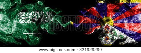 Saudi Arabia Kingdom Vs Tibet, Tibetan Smoky Mystic Flags Placed Side By Side. Thick Colored Silky S