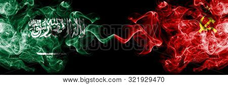 Saudi Arabia Kingdom Vs Ussr, Communist Smoky Mystic Flags Placed Side By Side. Thick Colored Silky