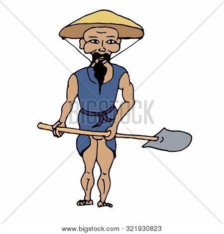 Stylized Resident Of Southeast Asia With A Shovel In A Hat From The Sun On A White Background Vector
