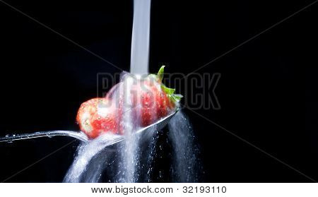 Strawberries Sprinkled With Water
