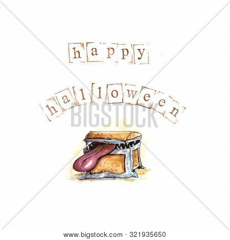 Hand Drawn Halloween Background With Mimic And Stamped Text