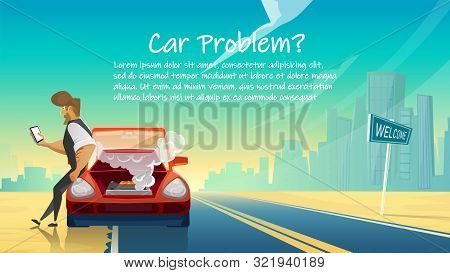 Automobile Breakdown - Man Calling Technical Car Service On Urban Landscape Background. Mobile Techn
