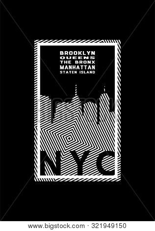 T-shirt Printing Design. Nyc Emblem. New York, Manhattan, Brooklyn, Queens The Bronx. Vector Illustr