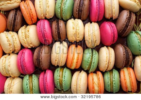 Colorful macaroons background.