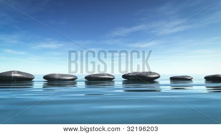 An image of some nice step stones in the blue sea