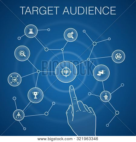 Target Audience Concept, Blue Background.consumer, Demographics, Niche, Promotion Icons