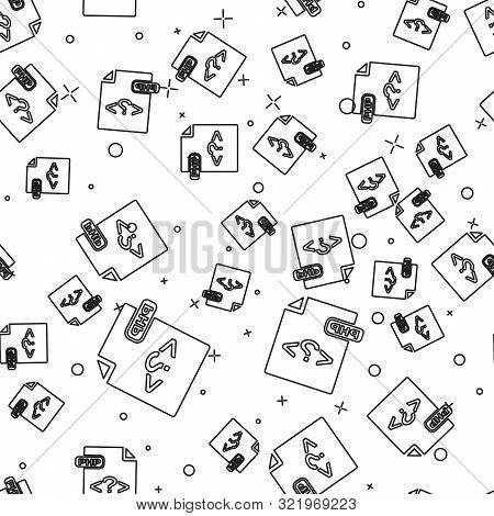 Black Line Php File Document. Download Php Button Icon Isolated Seamless Pattern On White Background