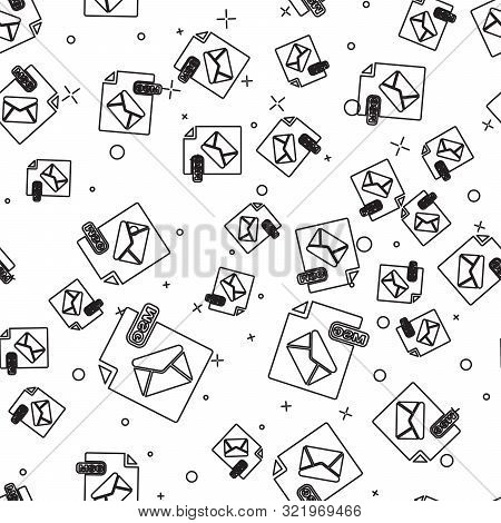 Black Line Msg File Document. Download Msg Button Icon Isolated Seamless Pattern On White Background