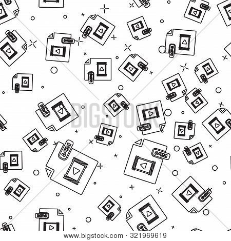 Black Line Mp4 File Document. Download Mp4 Button Icon Isolated Seamless Pattern On White Background