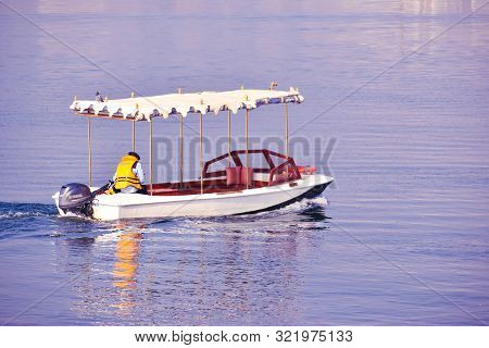 Udaipur, Rajasthan / India: 8 September 2019: Abstract Background Of Boat Ride In Lake Pichola, Udai