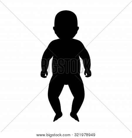 Vector Isolated Illustration Of Baby Silhouette. Isolated Black Illustration