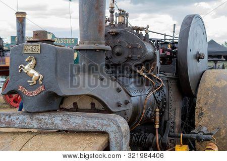 Haselbury Plucknett.somerset.united Kingdom.august 18th 2019.a Restored Vintage Steam Roller Is On D