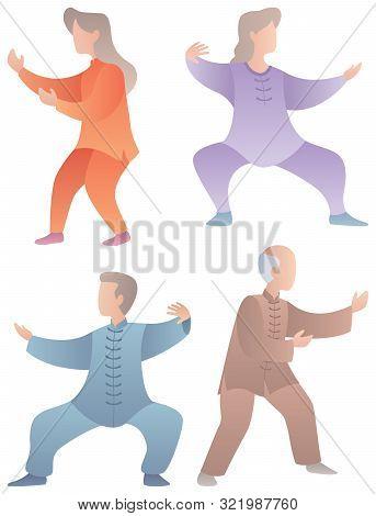Set Of 4 Flat Design Senior Characters Practicing Qigong Or Tai Chi.