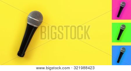 Top Down View, Microphone On Yellow Board With Space For Text On Right. Background Colour Can Be Eas