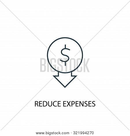 Reduce Expenses Concept Line Icon. Simple Element Illustration. Reduce Expenses Concept Outline Symb