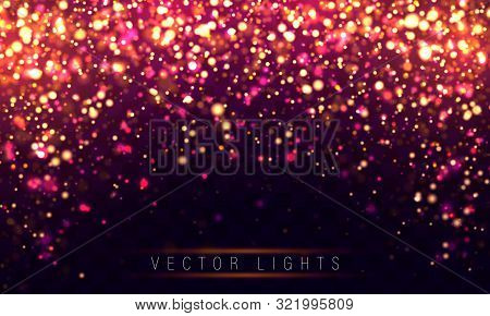 Light Abstract Glowing Bokeh Lights. Festive Purple And Golden Luminous Background With Colorful Lig
