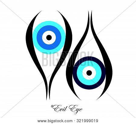 Set Of Two Evil Eyes Vector - Evil Eye Logo - White Background