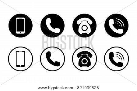 Mobile Phone Icon On Isolated Background.set Of Call Icon And Telephone, Smart In Flat Style For Web