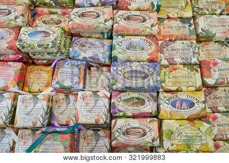 VERONA, ITALY - CIRCA MAY, 2019: close up shot of soap bars seen at OVS store in Verona.