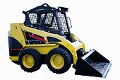 A yellow skid loader or bobcat construction equipment isolated on a white background poster