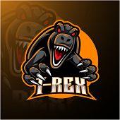 T-rex esport mascot logo design with text poster