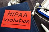 Hipaa violation inscription on a piece of paper. poster
