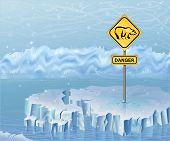 Danger sign on an ice  warning of polar bears poster