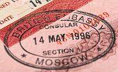 British visa stamp in your passport. Closeup poster