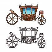 Wedding or marriage carriage, retro royal chariot poster