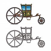 Retro wedding carriage or queen, princess chariot poster