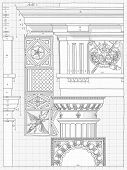 """Blueprint - hand draw sketch doric architectural order based """"The Five Orders of Architecture"""" is a book on architecture by Giacomo Barozzi da Vignola from 1593. Vector illustration. poster"""