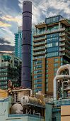 Industrial Machinery and Smokestack in Seattle Washington poster