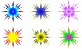 colorful selection of decorative star illustrations on white poster