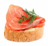 sandwich with red fish on white close up poster
