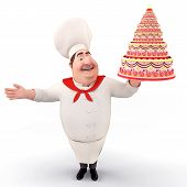 3D illustration of Happy Chef holding cake isolated with white background poster