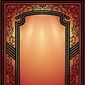 Background with decorative arch and columns golden-dark red elegance floral frame vector illustration poster