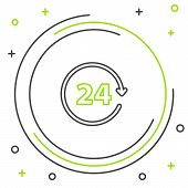 Black and green line Clock 24 hours icon isolated on white background. All day cyclic icon. 24 hours service symbol. Colorful outline concept. Vector Illustration poster