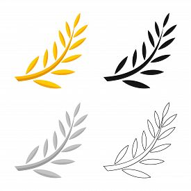 Isolated Object Of Laurel And Gold Logo. Set Of Laurel And Leaves Vector Icon For Stock.