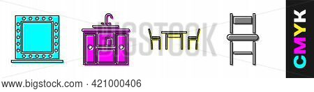 Set Makeup Mirror With Lights, Washbasin Cabinet With Tap, Wooden Table With Chair And Chair Icon. V