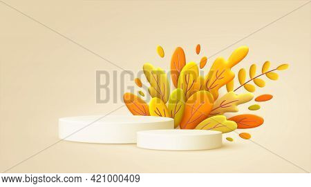 Hello Autumn 3d Minimal Background With Autumn Yellow, Orange Leaves And Product Podium. 3d Fall Lea