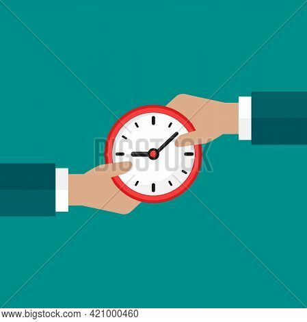 Businessman Hands With Red Clock. Vector Flat Illustration On Blue. Fast Success, Save Time Concept.