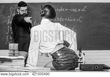 Sex And Sexual Education. Sexual Partners In Class. Bearded Man Point Finger At Sexual Woman. Learni