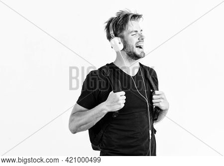 Student Handsome Guy Listening Music. Youth Music Taste. Modern People Concept. Man Tousled Hairstyl