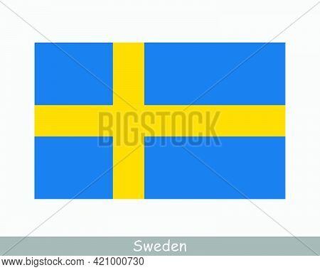National Flag Of Sweden. Swedish Country Flag. Kingdom Of Sweden Detailed Banner. Eps Vector Illustr