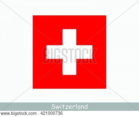 National Flag Of Switzerland. Swiss Country Flag. Swiss Confederation Detailed Banner. Eps Vector Il