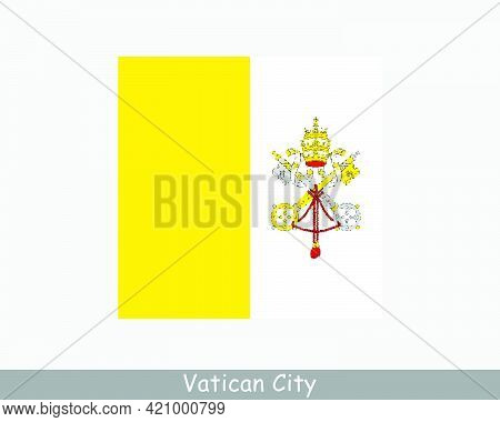 National Flag Of Vatican City. Holy See Vatican City State Country Flag Detailed Banner. Eps Vector