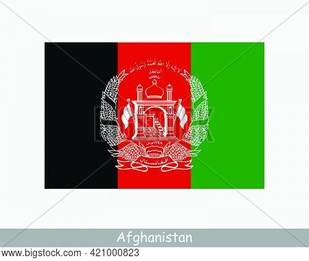 National Flag Of Afghanistan. Afghan Country Flag. Islamic Republic Of Afghanistan Detailed Banner.