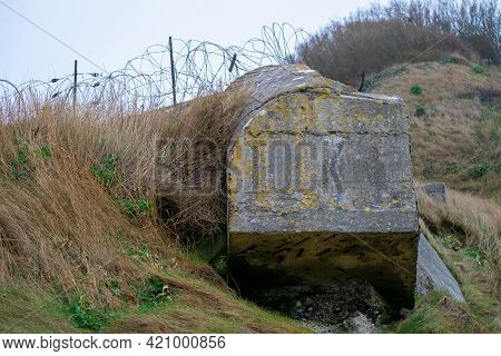 German Bunker At The Coast Near Etretat, The Normandy Landing Beaches In Normandy France. High Quali