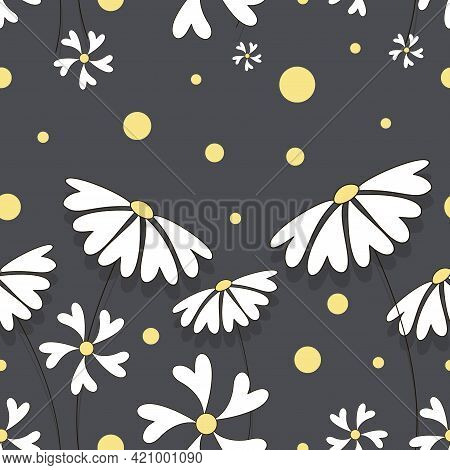 Chamomile. Vector Flower Herbal Background. Flower Bed. Seamless Pattern Of Flower Chamomile For Tex