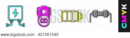 Set Electric Transformer, Electrical Outlet, Battery Charge Level Indicator And Resistor Electricity